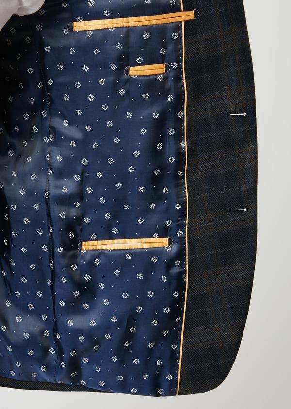 Veste casual Regular en laine bleu marine Prince de Galles - Father and Sons 27121