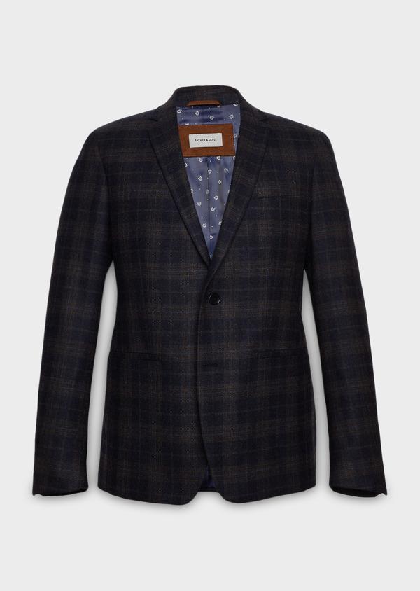 Veste casual Regular en laine bleu marine Prince de Galles - Father and Sons 27115