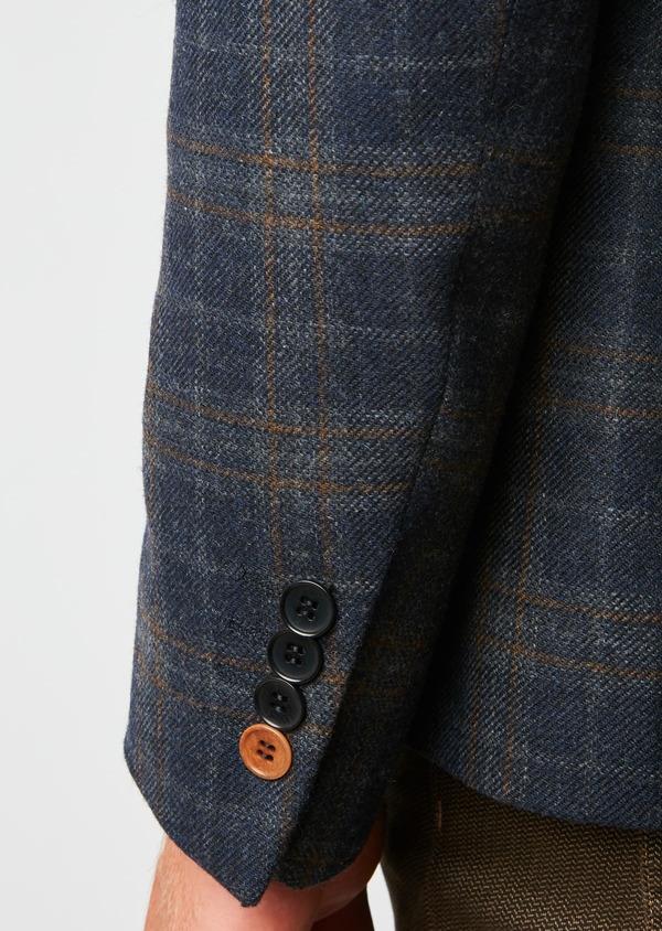 Veste casual Regular en laine bleu marine Prince de Galles - Father and Sons 27120
