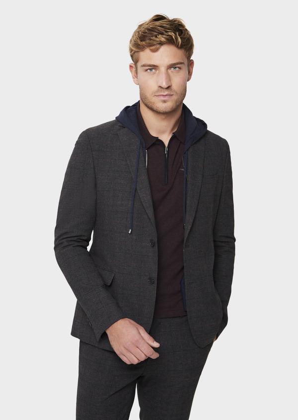 Veste casual regular en popeline de coton mélangé gris Prince de Galles - Father and Sons 41859