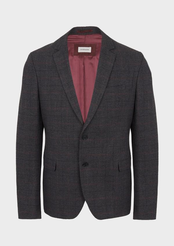 Veste casual regular en popeline de coton mélangé gris Prince de Galles - Father and Sons 41858