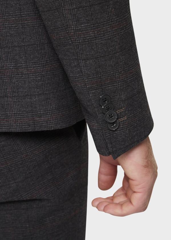 Veste casual regular en popeline de coton mélangé gris Prince de Galles - Father and Sons 41861