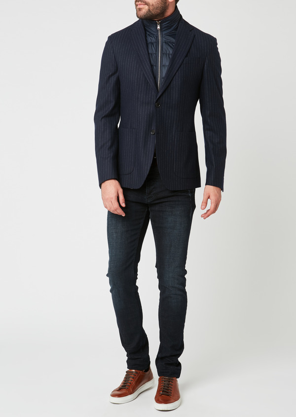 Veste coordonnable Regular en laine rayée bleu marine - Father and Sons 28183