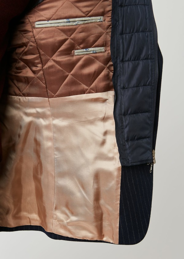 Veste coordonnable Regular en laine rayée bleu marine - Father and Sons 28187
