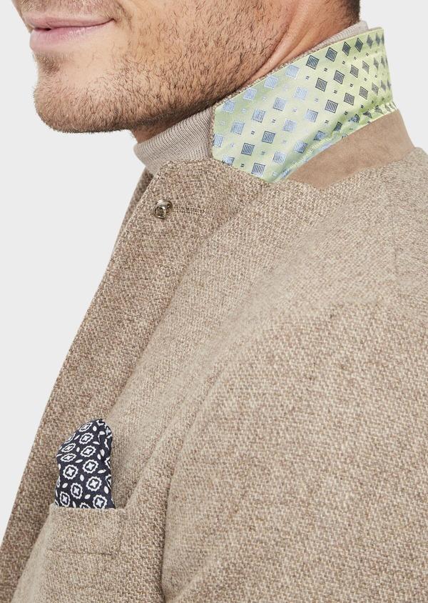 Veste casual Regular en laine mélangée unie beige - Father and Sons 41843