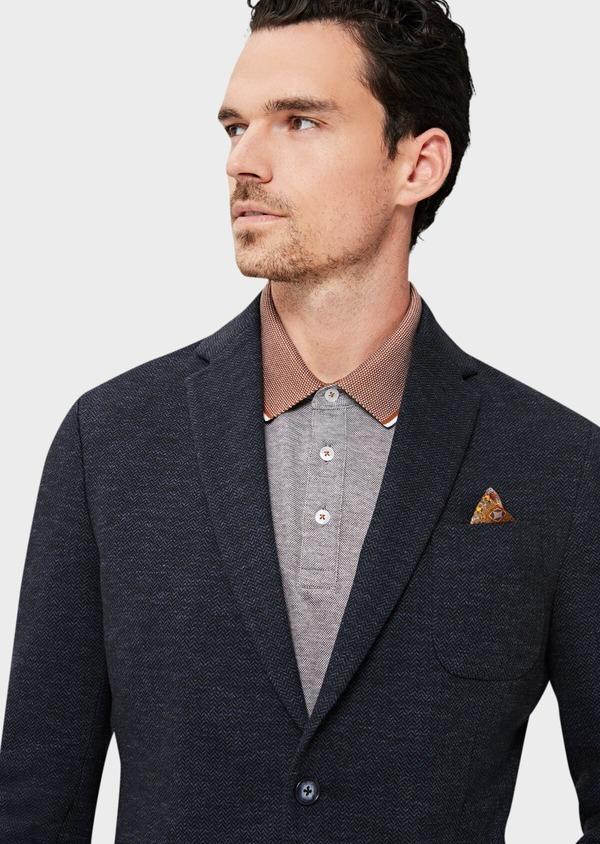 Veste casual Regular en coton mélangé uni bleu à parementure amovible - Father and Sons 41470