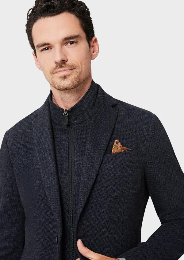 Veste casual Regular en coton mélangé uni bleu à parementure amovible - Father and Sons 41468