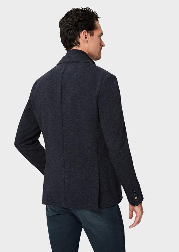 Veste casual Regular en coton mélangé uni bleu à parementure amovible - Father and Sons 41467