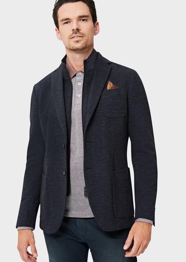 Veste casual Regular en coton mélangé uni bleu à parementure amovible - Father and Sons 41466