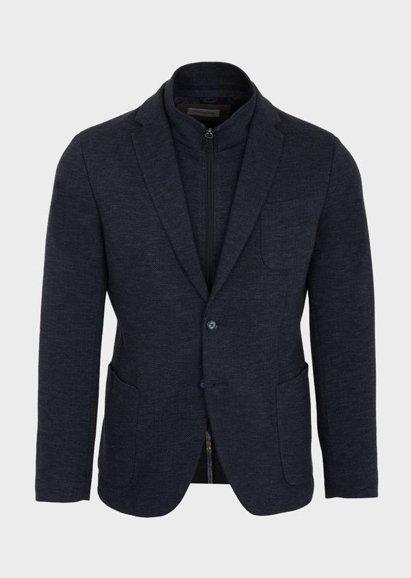 Veste casual Regular en coton mélangé uni bleu à parementure amovible - Father and Sons 41465