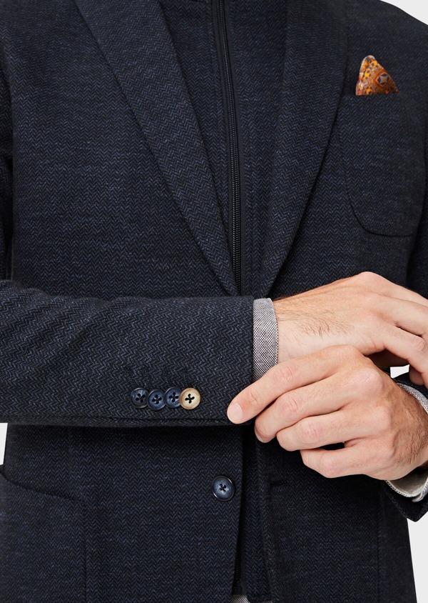 Veste casual Regular en coton mélangé uni bleu à parementure amovible - Father and Sons 41469