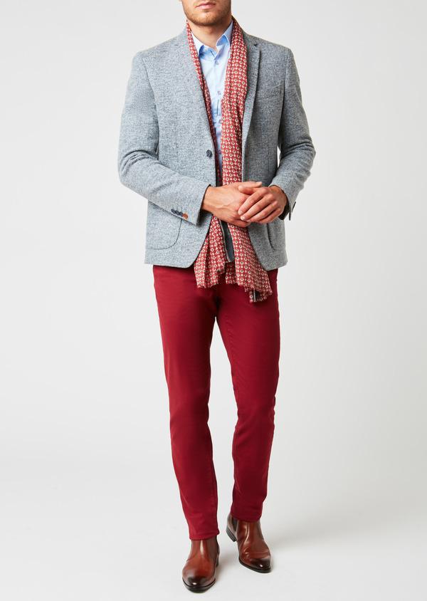 Veste casual Regular en coton façonné uni bleu - Father and Sons 27146
