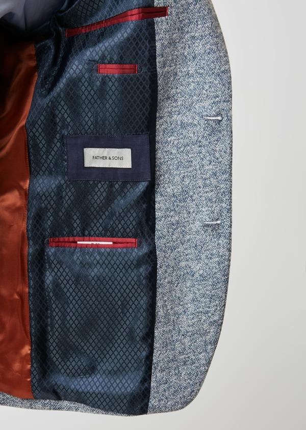 Veste casual Regular en coton façonné uni bleu - Father and Sons 27150