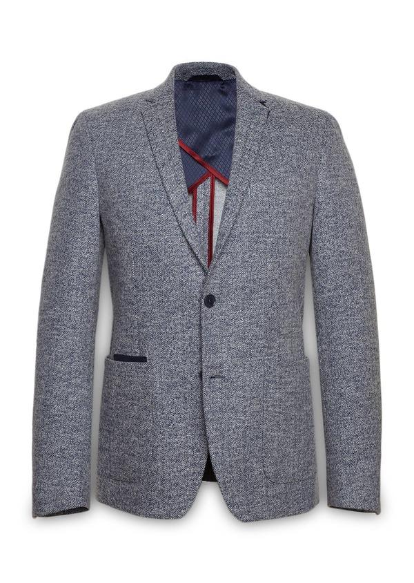 Veste casual Regular en coton façonné uni bleu - Father and Sons 27144