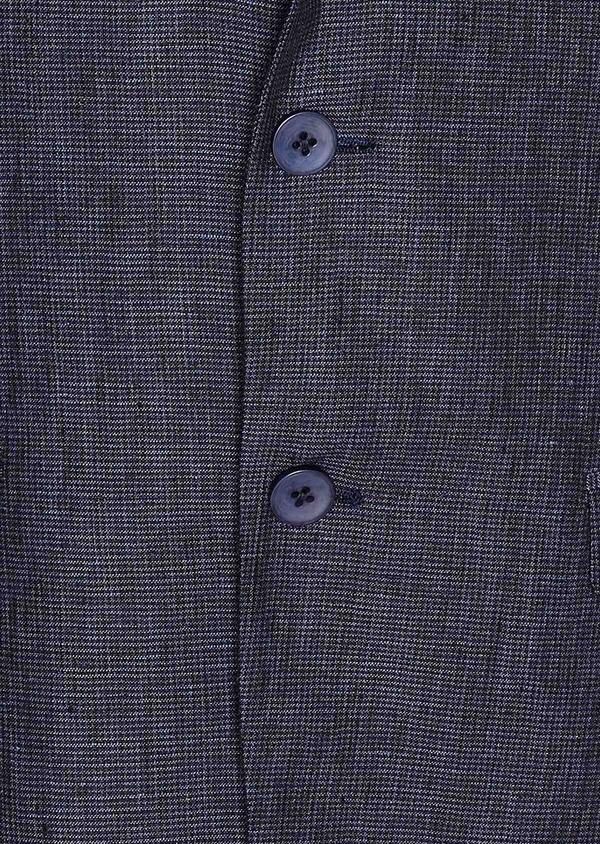 Veste coordonnable Regular en lin bleu marine à carreaux - Father and Sons 33621