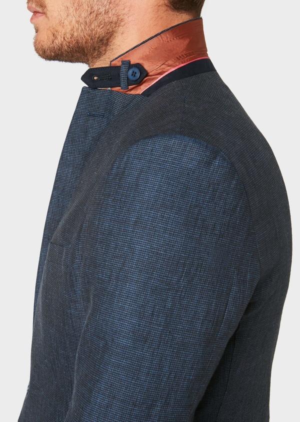 Veste coordonnable Regular en lin bleu marine à carreaux - Father and Sons 33624