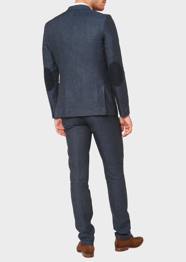 Veste coordonnable Regular en lin bleu marine à carreaux - Father and Sons 33623