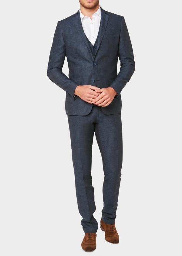 Veste coordonnable Regular en lin bleu marine à carreaux - Father and Sons 33622