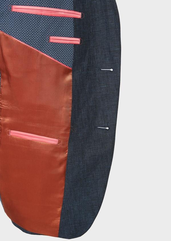 Veste coordonnable Regular en lin bleu marine à carreaux - Father and Sons 33626