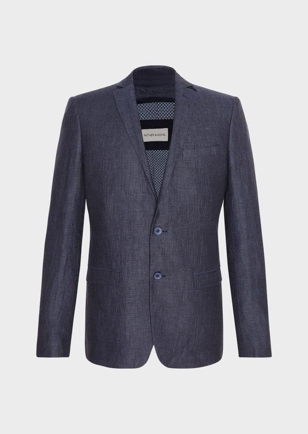 Veste coordonnable Regular en lin bleu marine à carreaux - Father and Sons 33620