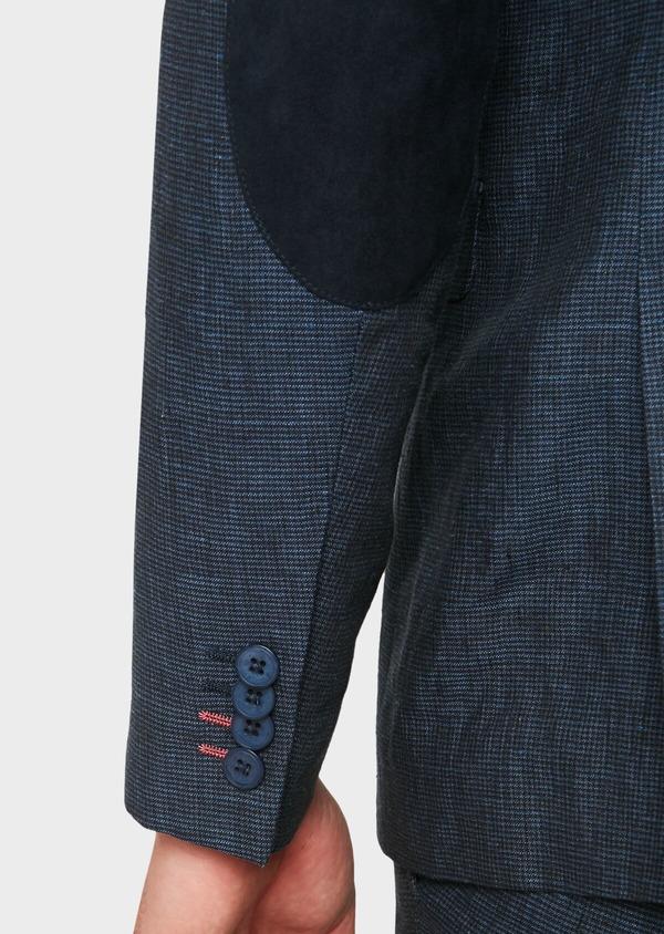 Veste coordonnable Regular en lin bleu marine à carreaux - Father and Sons 33625
