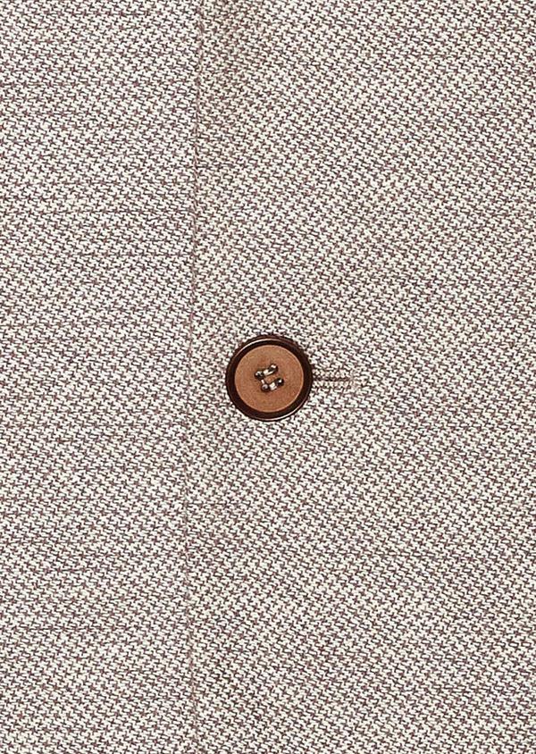 Veste coordonnable Regular en coton stretch et lin beige à motif fantaisie - Father and Sons 34067