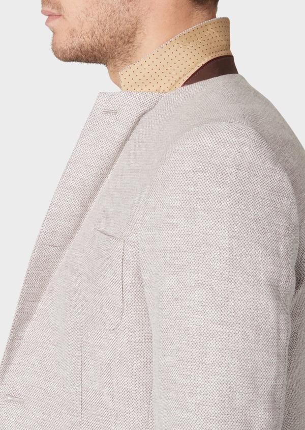 Veste coordonnable Regular en coton stretch et lin beige à motif fantaisie - Father and Sons 34070