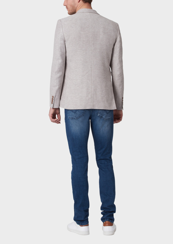Veste coordonnable Regular en coton stretch et lin beige à motif fantaisie - Father and Sons 34069