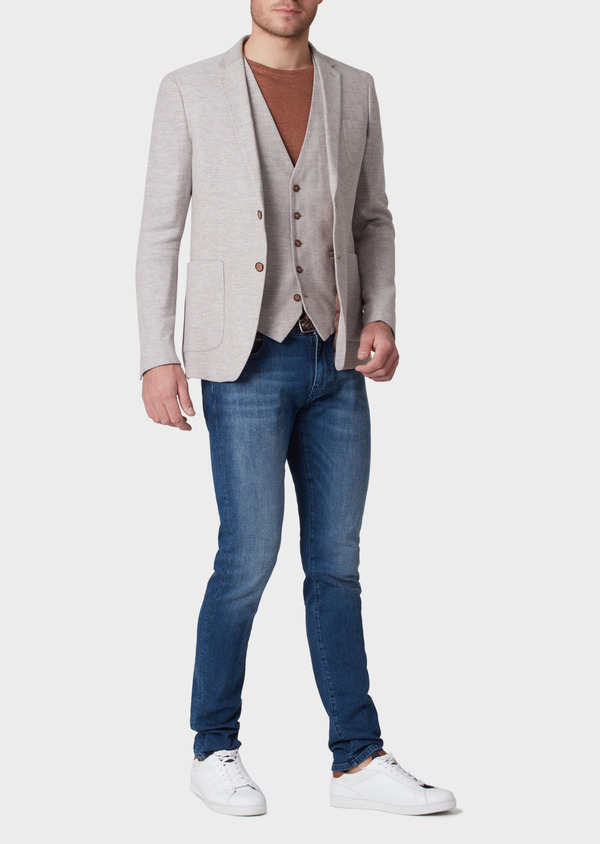 Veste coordonnable Regular en coton stretch et lin beige à motif fantaisie - Father and Sons 34068
