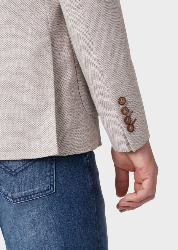 Veste coordonnable Regular en coton stretch et lin beige à motif fantaisie - Father and Sons 34071