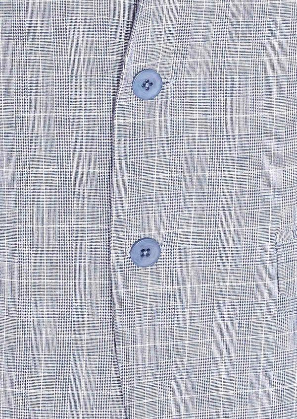 Veste coordonnable Regular en lin et coton bleu indigo Prince de Galles - Father and Sons 33642