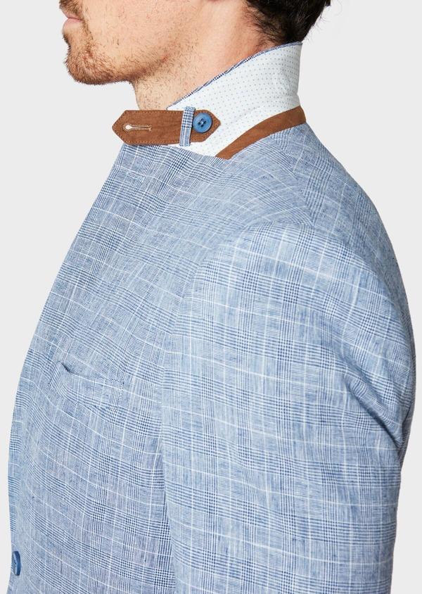 Veste coordonnable Regular en lin et coton bleu indigo Prince de Galles - Father and Sons 33645
