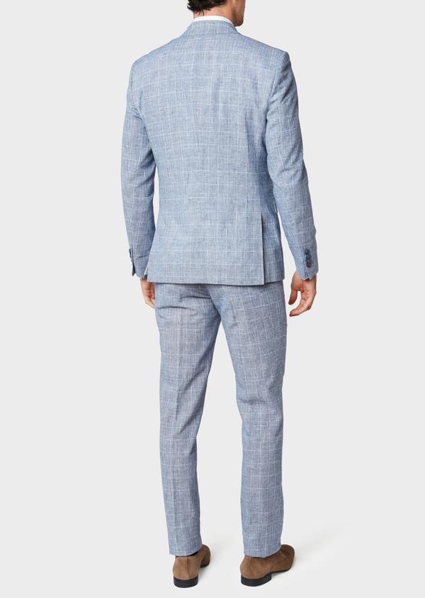 Veste coordonnable Regular en lin et coton bleu indigo Prince de Galles - Father and Sons 33644