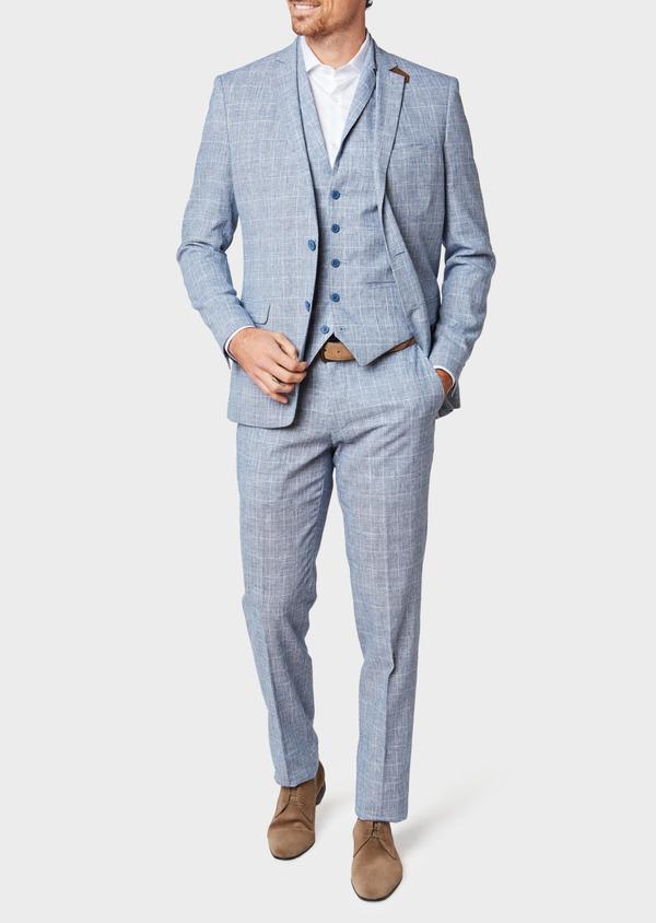 Veste coordonnable Regular en lin et coton bleu indigo Prince de Galles - Father and Sons 33643