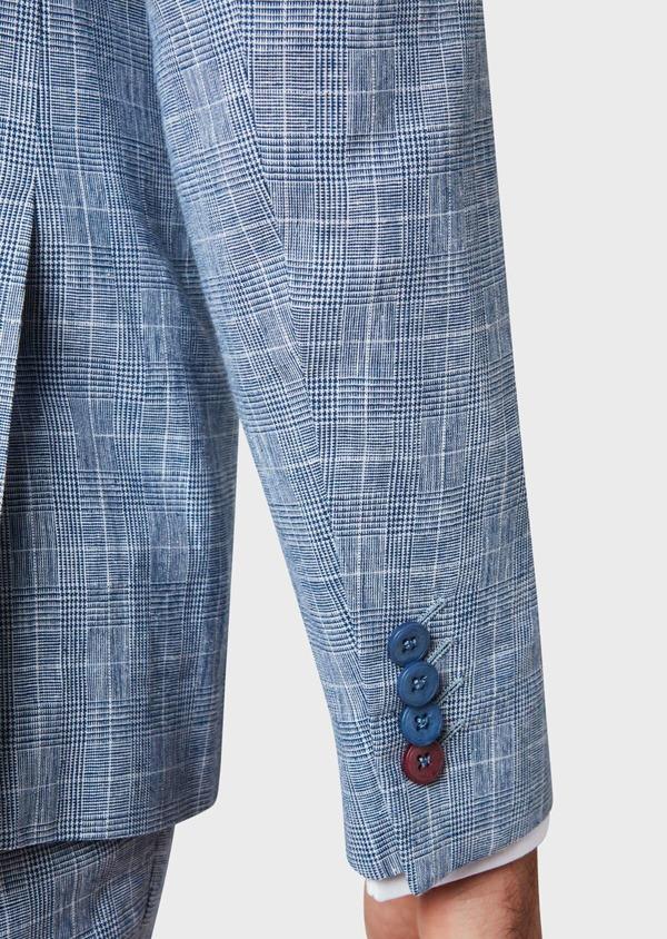 Veste coordonnable Regular en lin et coton bleu indigo Prince de Galles - Father and Sons 33646