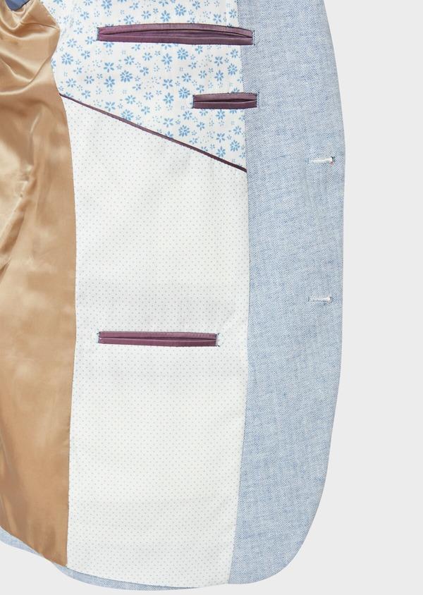 Veste coordonnable Regular en lin et coton uni bleu ciel - Father and Sons 33640