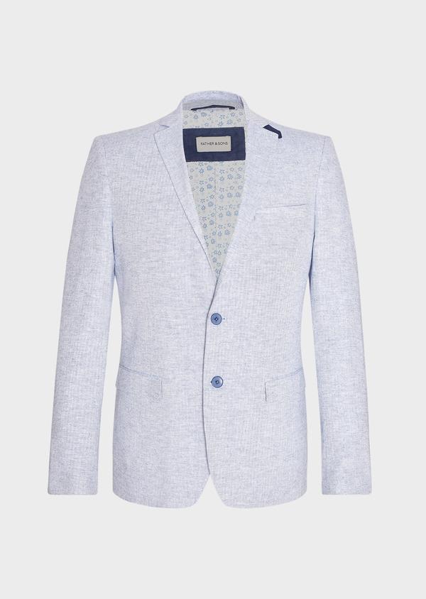 Veste coordonnable Regular en lin et coton uni bleu ciel - Father and Sons 33634