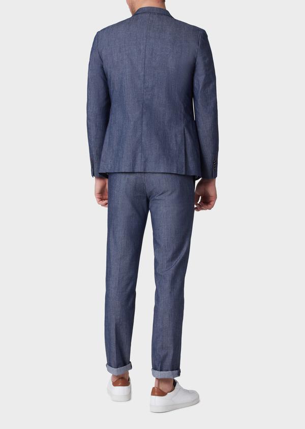 Veste coordonnable Regular en coton mélangé uni bleu turquin - Father and Sons 34089