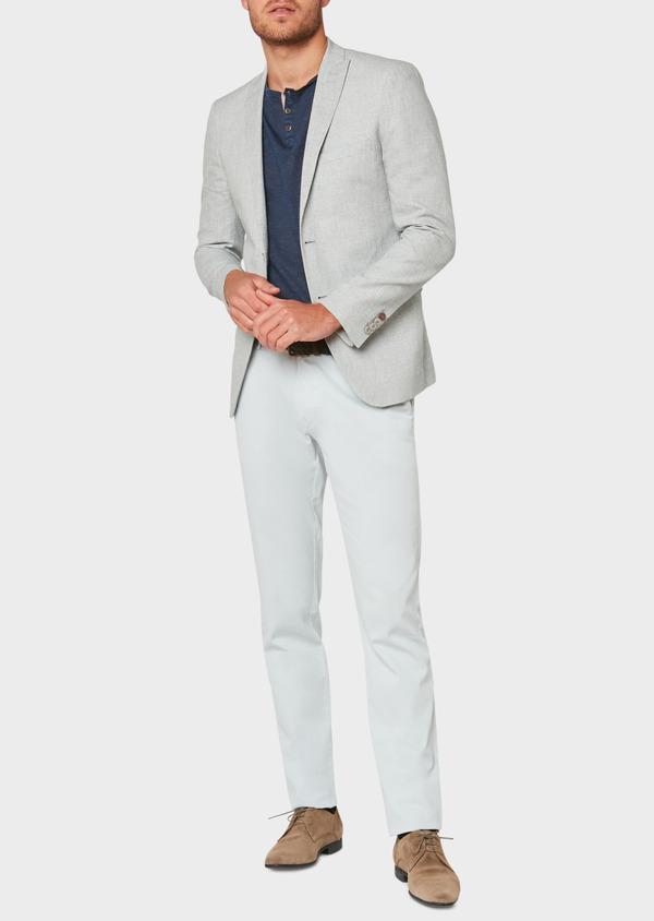 Veste casual Slim en coton et lin gris clair à carreaux - Father and Sons 33650