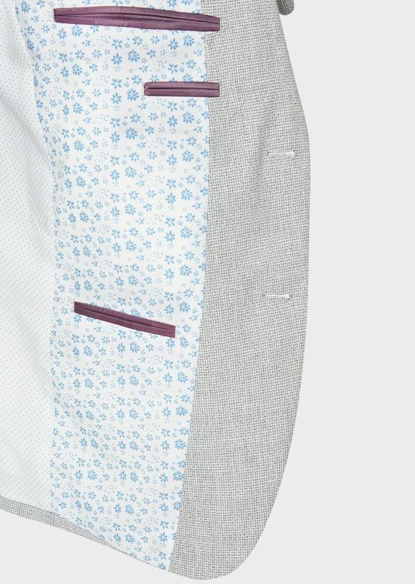 Veste casual Slim en coton et lin gris clair à carreaux - Father and Sons 33654