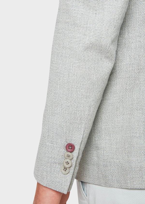 Veste casual Slim en coton et lin gris clair à carreaux - Father and Sons 33653