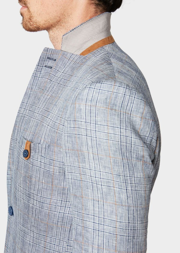 Veste coordonnable Slim en lin bleu Prince de Galles - Father and Sons 33588