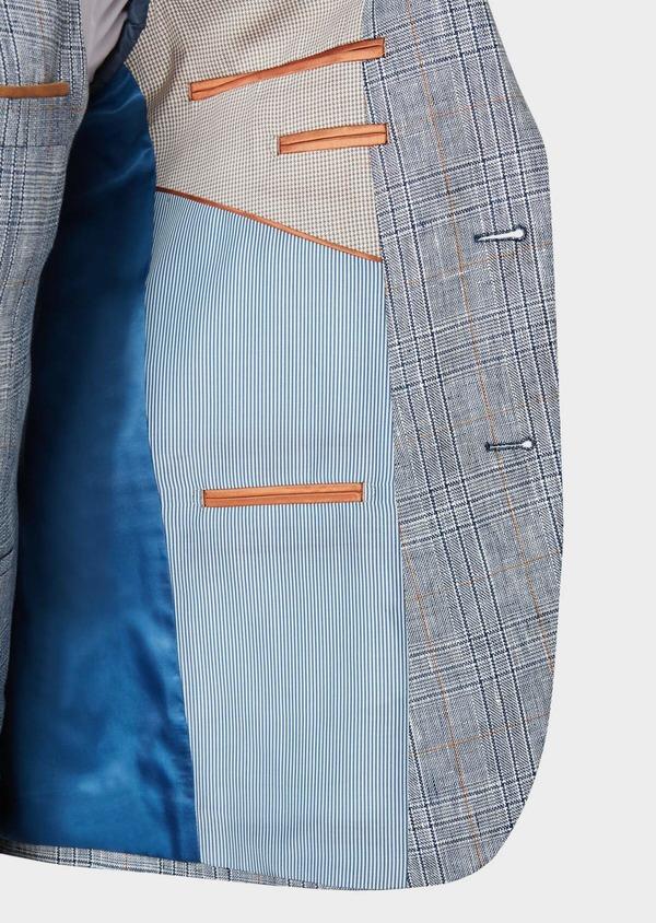 Veste coordonnable Slim en lin bleu Prince de Galles - Father and Sons 33590