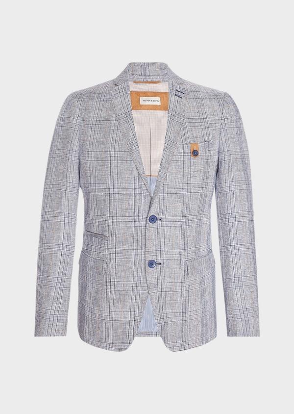Veste coordonnable Slim en lin bleu Prince de Galles - Father and Sons 33584
