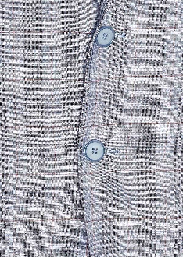 Veste casual Slim en lin bleu turquin Prince de Galles - Father and Sons 34081