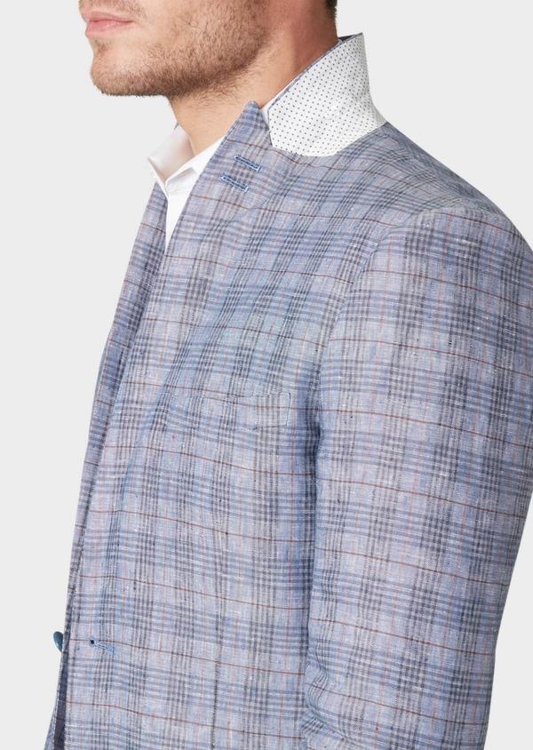 Veste casual Slim en lin bleu turquin Prince de Galles - Father and Sons 34084