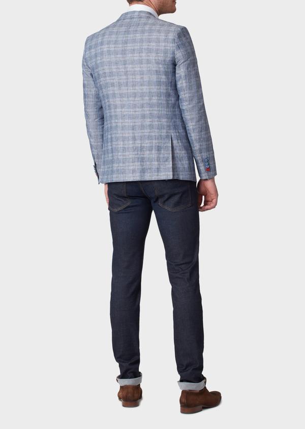 Veste casual Slim en lin bleu turquin Prince de Galles - Father and Sons 34083