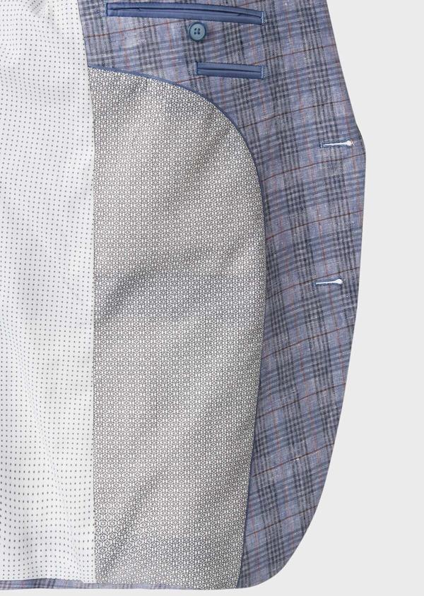 Veste casual Slim en lin bleu turquin Prince de Galles - Father and Sons 34085