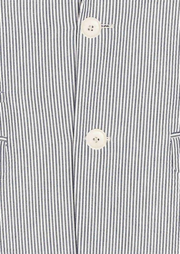 Veste coordonnable Slim en coton stretch bleu indigo à rayures - Father and Sons 33628