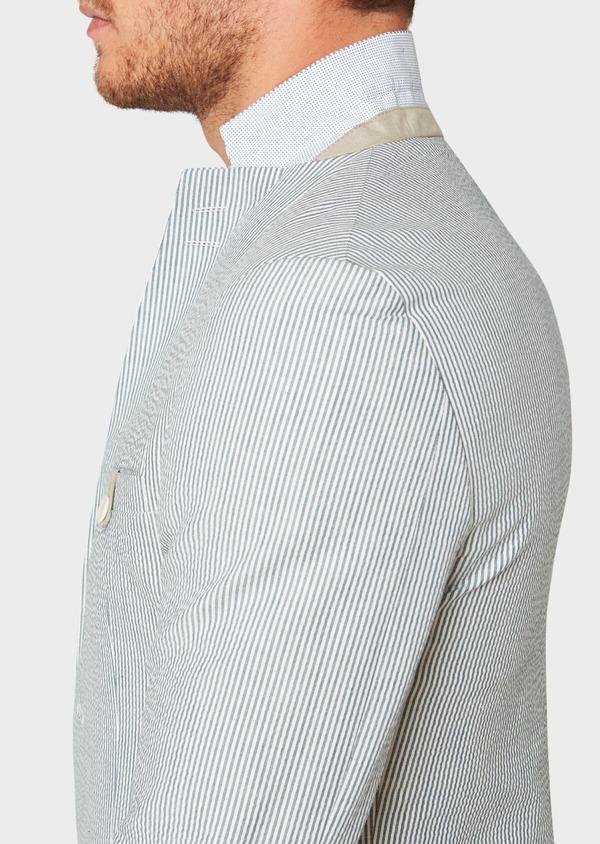 Veste coordonnable Slim en coton stretch bleu indigo à rayures - Father and Sons 33631